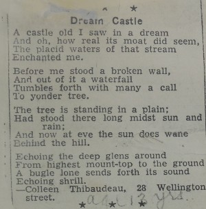 Collen's poem Dream Castle was published in Canadian Girl, May 15, 1939
