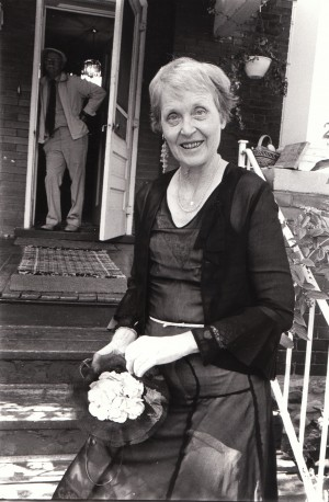 Colleen Thibaudeau in her mother's old the dansant dress, at her home in London, Ontario, 1999. Photo by Janos.