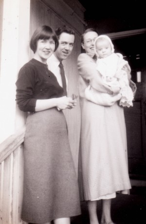 Colleen Thibaudeau holding her son James Stewart Reaney (age 4 months) with her friends Pamela and John Beckwith (Toronto 1955)