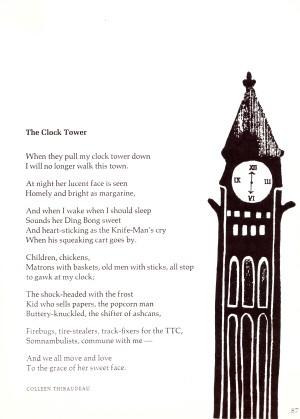 """The Clock Tower"" by Colleen Thibaudeau from the Oxford University Press anthology The Wind Has Wings (1968)."
