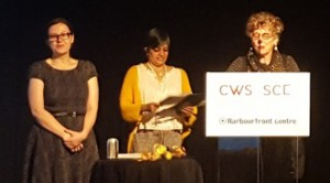"""Saturday June 18, 2016 -- Poet Lorna Crozier (far right) -- winner of the Pat Lowther Memorial Award and the Raymond Souster Award for her collection """"The Wrong Cat""""."""